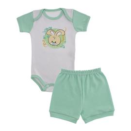 Imagem - Conjunto Body e Short Bebê Menina Lapuko  - 9920-conj-body-short-verde-coelha