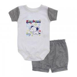 Imagem - Conjunto Body e Short para Menino Lapuko - 10285-conj.body-short-elefante-mesc