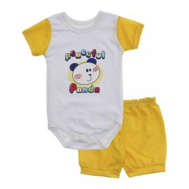 Imagem - Conjunto Body e Short para Menino Lapuko - 10285-conj-body-short-panda-amarelo