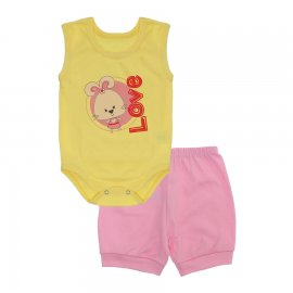 Imagem - Conjunto Body Regata e Shorts Menina - 10243-conj.regata-amarelo-love-rosa