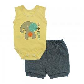 Imagem - Conjunto Body Regata e Shorts Menino - 10244-conj.regata-short-elefante-ve
