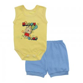 Imagem - Conjunto Body Regata e Shorts Menino - 10244-conj.regata-short-happy-azul