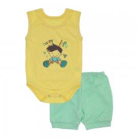 Imagem - Conjunto Body Regata e Shorts Menino - 10244-conj-regata-happy-life-verde-