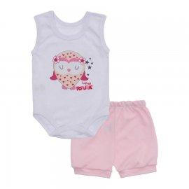 Imagem - Conjunto Body Regata Menina Lapuko - 10226-conj.regata-coruja-rosa-bebe