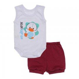 Imagem - Conjunto Body Regata Menino Lapuko - 10227-conj.regata-duck-vinho