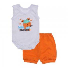 Imagem - Conjunto Body Regata Menino Lapuko - 10227-conj.regata-tesouro-laranja