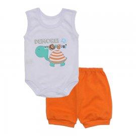 Imagem - Conjunto Body Regata Menino Lapuko - 10227-conj.regata-tartaruga-laranja