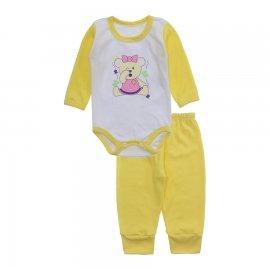 Imagem - Conjunto de Body e Calça para Bebê Lapuko - 10216-body-calça-lapuko-amarelo