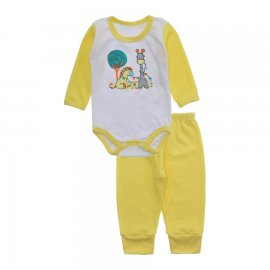 Imagem - Conjunto de Body e Calça para Bebê Lapuko - 10217-body-calça-lapuko-amarelo