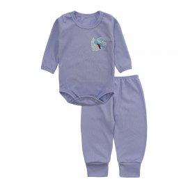 Imagem - Conjunto de Body e Calça para Bebê Lapuko - 10211-conj.body-calca-azul-canelado