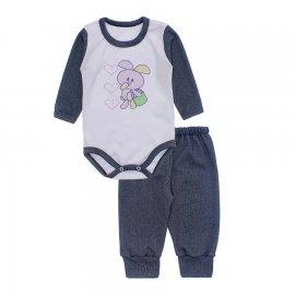 Imagem - Conjunto de Body e Calça para Bebê Lapuko - 10216-body-calça-lapuko-azul-mescla