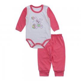Imagem - Conjunto de Body e Calça para Bebê Lapuko - 10216-body-calça-lapuko-chiclete