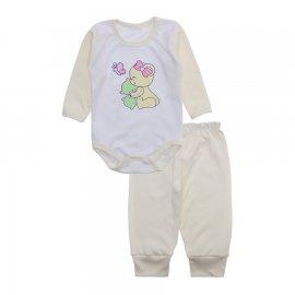 Imagem - Conjunto de Body e Calça para Bebê Lapuko - 10216-body-calça-lapuko-creme