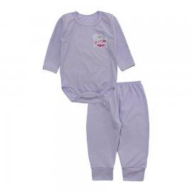 Imagem - Conjunto de Body e Calça para Bebê Lapuko - 10211-conj.body-calca-lilas-canelad