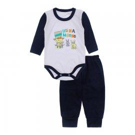 Imagem - Conjunto de Body e Calça para Bebê Lapuko - 10217-body-calca-lapuko-marinho