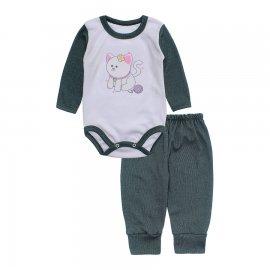 Imagem - Conjunto de Body e Calça para Bebê Lapuko - 10216-body-calCa-lapuko-verde-mescl
