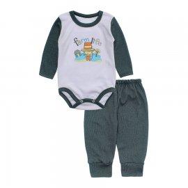 Imagem - Conjunto de Body e Calça para Bebê Lapuko - 10217-body-calca-lapuko-verde-mescl