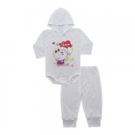 Imagem - Conjunto Body com Capuz e Calça para Bebê - 10137-body-calça-love