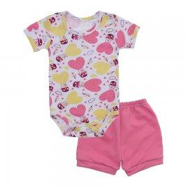 Imagem - Conjunto de Body e Short para Bebê - 10037-conj-body-short-coracao-rosa