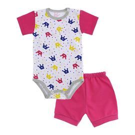 Imagem - Conjunto de Body e Short para Bebê - 10037-conj.body-short-coroa-pink