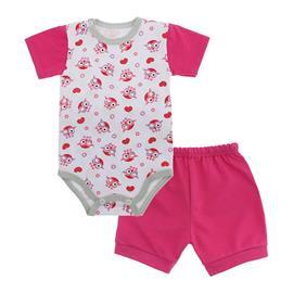 Imagem - Conjunto de Body e Short para Bebê - 10037-conj.body-short-coruja-pink
