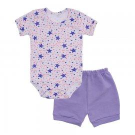 Imagem - Conjunto de Body e Short para Bebê - 10037-conj-body-short-estrela-lilas