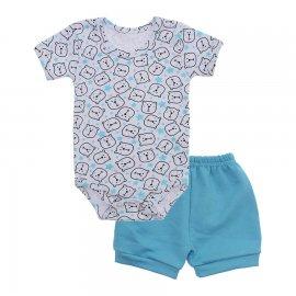 Imagem - Conjunto de Body e Short para Bebê - 10037-conj-body-short-urso-azul