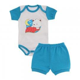 Imagem - Conjunto de Body e Short para Bebê Menino - 9936-conj-body-short-azul-aviador
