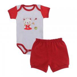 Imagem - Conjunto de Body e Short para Bebê Menino - 9936-conj-body-short-vermelho-mecha
