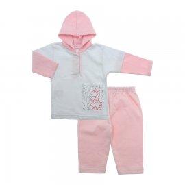 Imagem - Conjunto de Inverno em Moletinho Flanelado Lapuko - 9963-conj-moletinho-branco-rosa