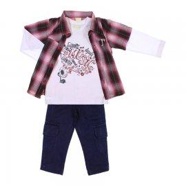 Imagem - Conjunto de Calça e Camisão e Camiseta Kids Minis - 6737-vermelho