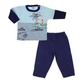 Imagem - Pijama de Bebê Flanelado Manga Longa Jacaré - 5952 - Azul