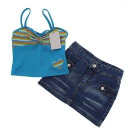 Imagem - Conjunto de Saia Jeans e Blusinha Feminino Summer - 9790 - 9790-mod.1