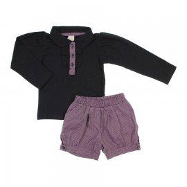 Imagem - Conjunto Infantil Menina Blusa e Shorts Fadas - 5788 - Preto