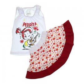 Imagem - Conjunto Infantil Saia e Camiseta Pedrita 5945 - 5945 - Branco