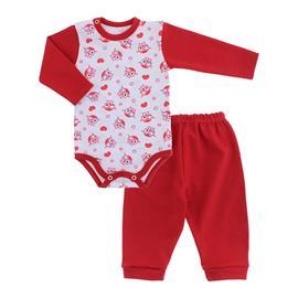 Imagem - Conjunto para Bebê de Body e Calça  - 10036-conj.body-calça-coruja-vermel