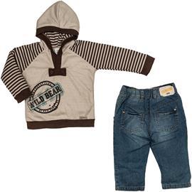 Conjunto de Moleton com Calça Jeans - Zig Mundi - cod.5524