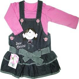 Imagem - Salopete Jeans com Blusa para Bebê Kidins - 5310 - Pink