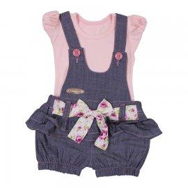 Imagem - Jardineira Jeans Verão Floral  - 6318 -Jardineira Jeans Verão Floral