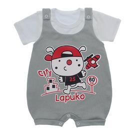 Imagem - Jardineira e Body para Bebê Lapuko - 10085-Jardineira-City-cinza