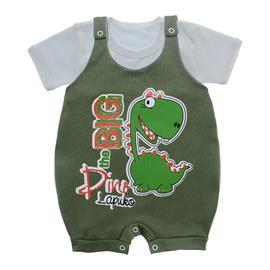 Imagem - Jardineira e Body para Bebê Lapuko - 10085-jardineira-dino-verde-escuro