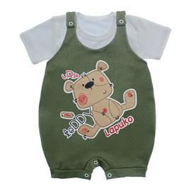 Imagem - Jardineira e Body para Bebê Lapuko - 10085-jardineira-teddy-verde