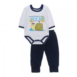 Imagem - Pijama para Bebê Body e Calça Lapuko - 10188-kit-body-calça-amigos-marinh