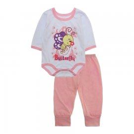 Imagem - Pijama para Bebê Body e Calça Lapuko - 10189-kit-body-calça-butterfly-rosa