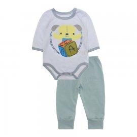 Imagem - Pijama para Bebê Body e Calça Lapuko - 10188-kit-body-calça-dog-cinza
