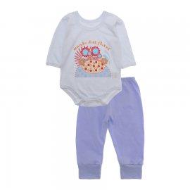 Imagem - Pijama para Bebê Body e Calça Lapuko -  10189-kit-body-calça-flores-branco