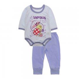 Imagem - Pijama para Bebê Body e Calça Lapuko - 10189-kit-body-calca-ladybug-lilas