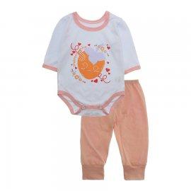 Imagem - Pijama para Bebê Body e Calça Lapuko - 10189-kit-body-calça-morango-salmao
