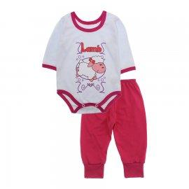 Imagem - Pijama para Bebê Body e Calça Lapuko - 10189-kit-body-calça-ovelha-pink