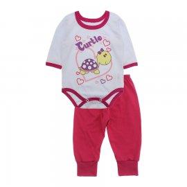 Imagem - Pijama para Bebê Body e Calça Lapuko - 10189-kit-body-calça-turtle-pink
